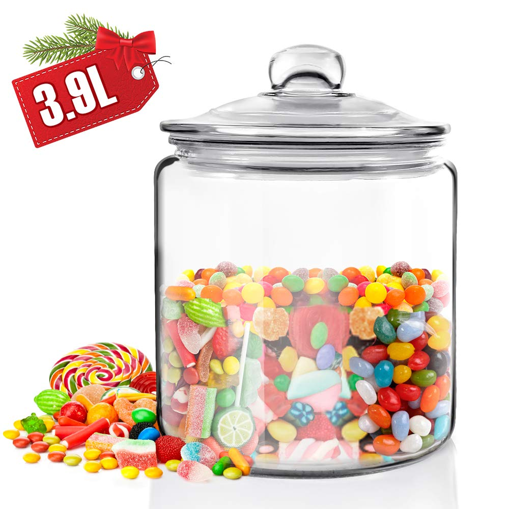 1 Gallon Clear Round Big Capacity Airtight Glass Storage Jar with Leak Proof Rubber Gasket Lid,Household Multifunctional Storage Container for Preserving Dry Food, Cookies, Candies, Snacks and More