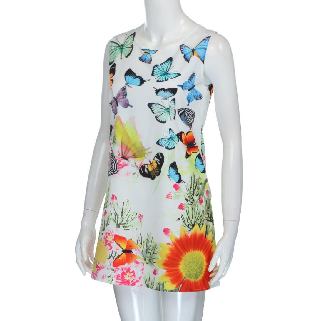 NREALY Women's Vintage Boho Summer Sleeveless Beach Printed Short Mini Dress Vestido(XL, b_White) by NREALY (Image #1)