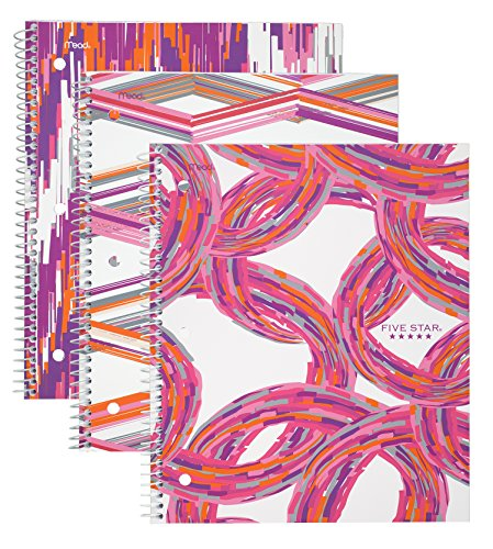 """Five Star Spiral Notebooks, 1 Subject, College Ruled, 11"""" x 8-1/2"""", Style, Assorted Warm Designs, 3 Pack (38773)"""