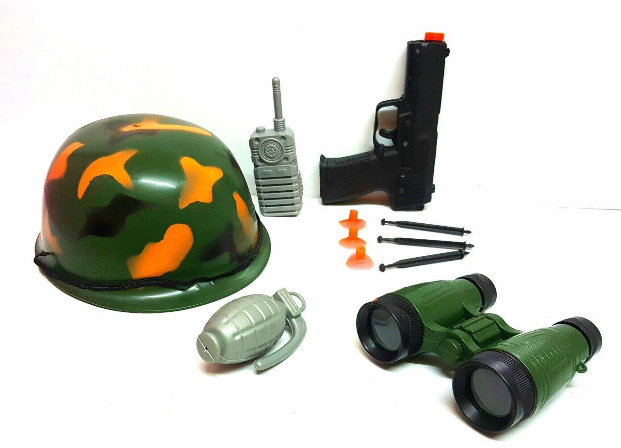New 8pcs Kids Army Fancy Dress Roll Play Set Gun Bomb Binoculars Walkie Talkie