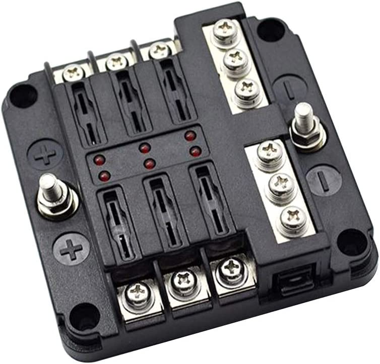 Explopur Advanced 6 Way ATC//ATO Auto Universal Blade Fuse Holder Box 6-Circuit Fuse Block with PC Cover Car LED Illuminated Accessories