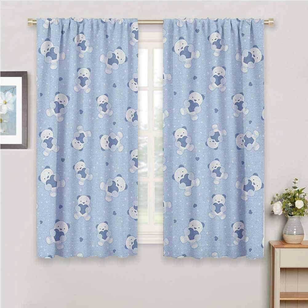 Bedroom 42 W x 54 L Petpany white curtains Boys,Teddy Bears on Blue Backdrop Holding Hearts Baby Shower Theme Toddler,Baby Blue Cadet Blue White,for Room Darkening Panels for Living Room
