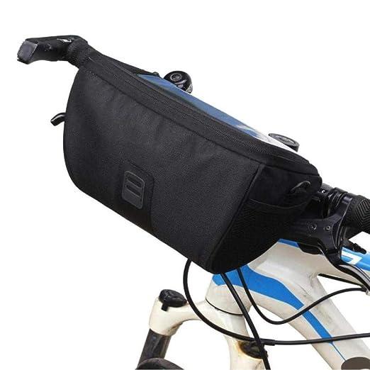 DHDHWL Borsa da Bicicletta Borsa Multifunzionale Nera per