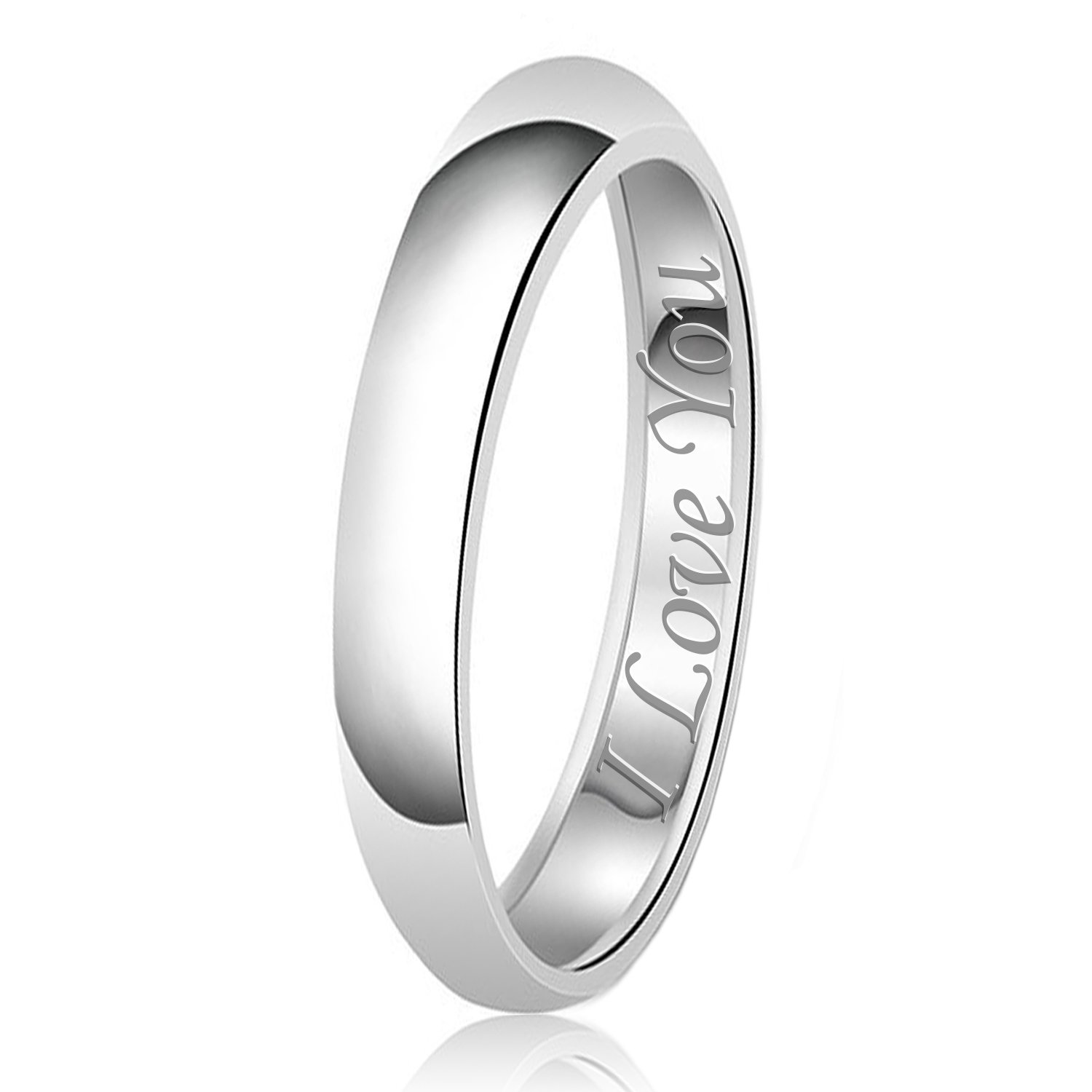 3mm I Love You Engraved Classic Sterling Silver Plain Wedding Band Ring, Size 7.5
