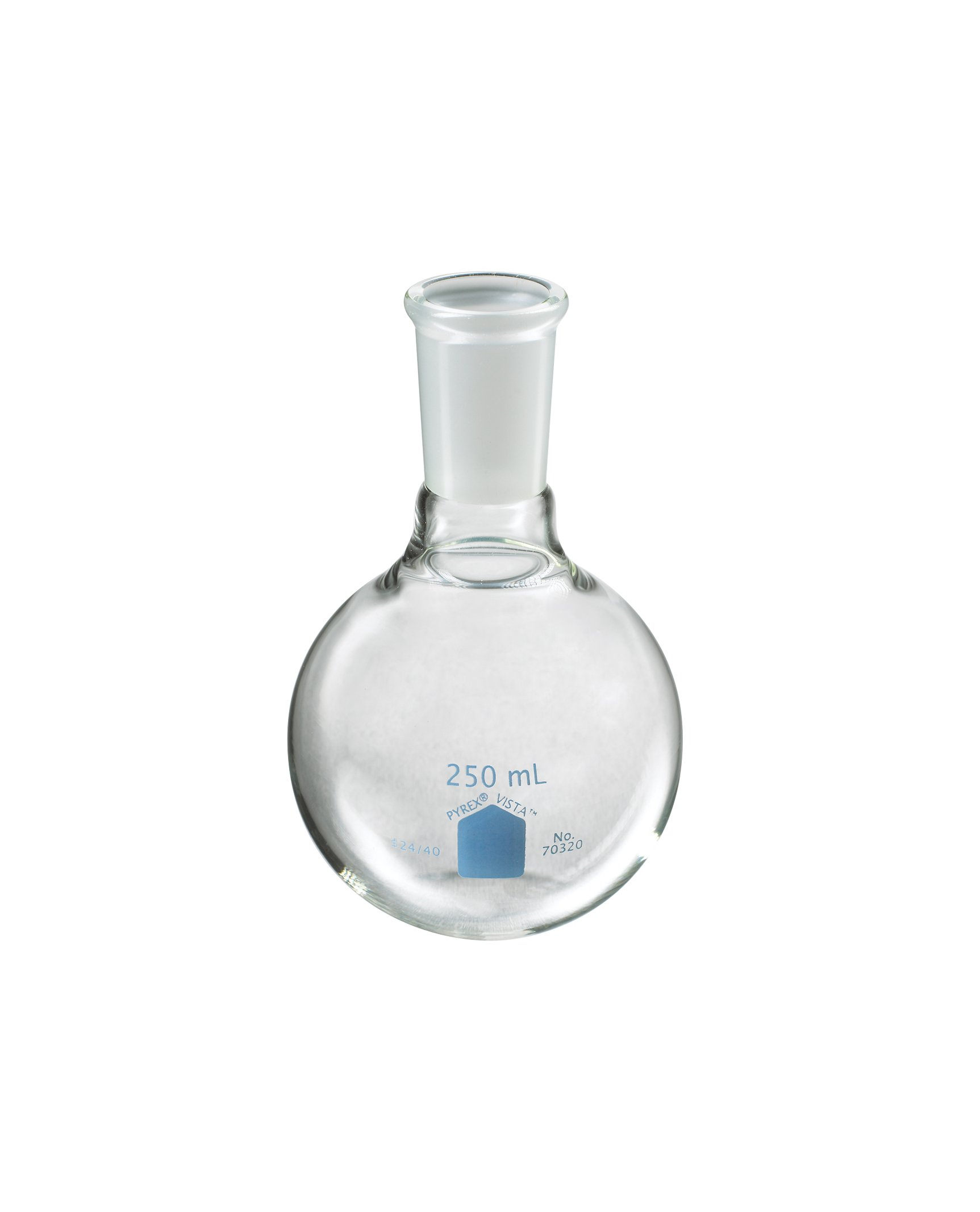 Corning Pyrex Vista Borosilicate Glass Short Neck Round Bottom Boiling Flasks with 24/40 Standard Taper Joint, 250ml Capacity (Case of 4)