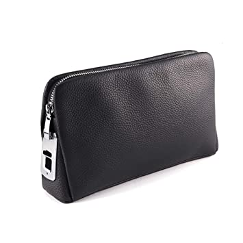 YMXLJJ Bolso de los Hombres Smart Fingerprint de Cuero Suave Cuero Embrague Smart Business Gran Capacidad Doble Cartera Zip (Negro): Amazon.es: Deportes y ...
