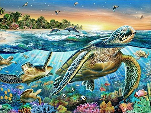 Jollylife Art - 5D DIY Full Square Drills Diamond Painting Kits, Sea World Pictures By Number Kits Rhinestone Embroidery for Wall Decoration 40x30cm (Turtle) by jollylife