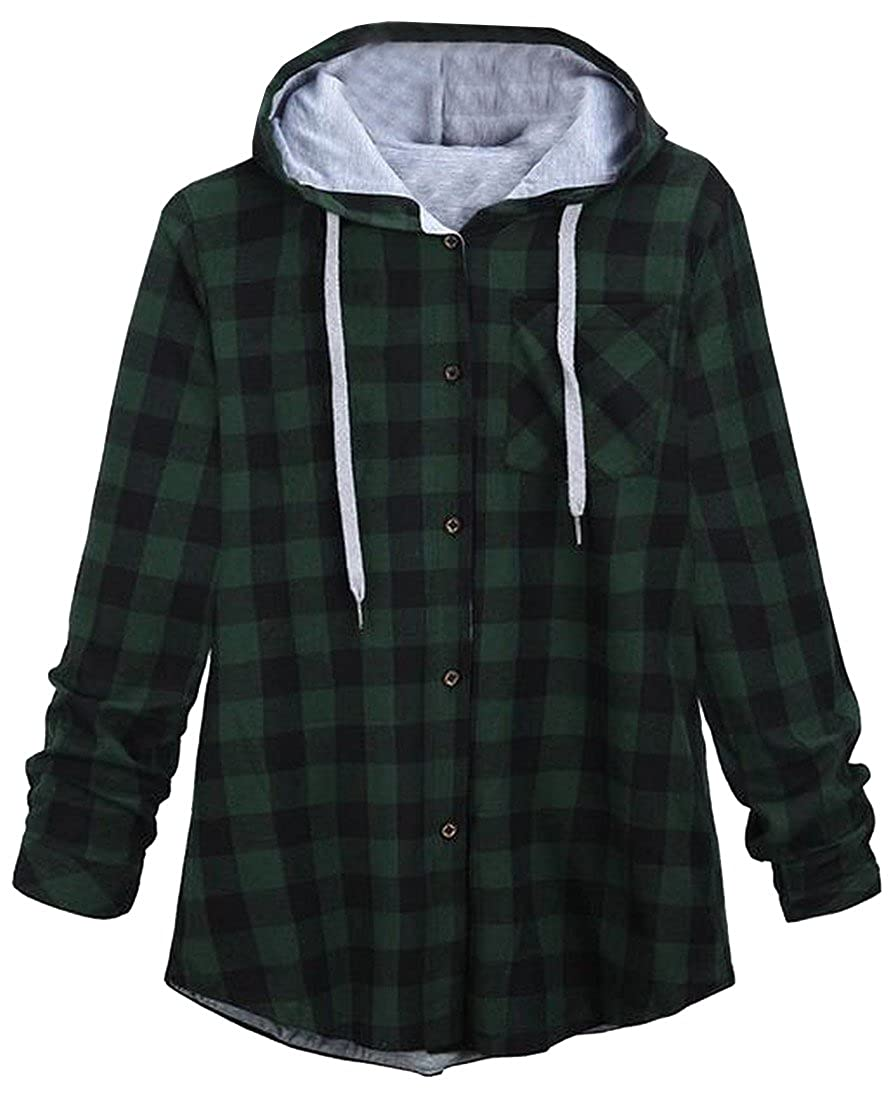 EKU Women Contrast Plaid Oversized Long Hoodies Sweatshirts L 3