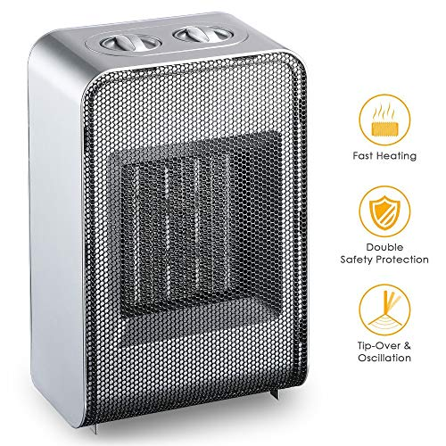 Hargitech Ceramic Space Heater with Adjustable Thermostat for Home Office, Tabletop or Under-Desk Heater,750-1500 Watt, White Review