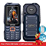 Cectdigi T19 Military Rugged 3 Sim Card Mobile Phone Shockproof Dustproof 15800mAh Power Bank Cell Phone 3D Stereo Speaker Wireless FM 16:9 HD Screen Outdoor Activities Phone (Blue)