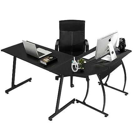 Coavas Scrivania da Ufficio Angolo in Legno Scrivania Grande per PC  Scrivania da Gioco Scrivania da Lavoro 148x112x74 cm Nero