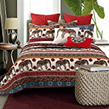 3 Piece Brown Red Animal Print Full Queen Quilt Set, Southwest Theme Elephant Bedding Medallion Blue White Beige Geometric Horizontal Stripes Bohemian Floral Reversible, Cotton Polyester