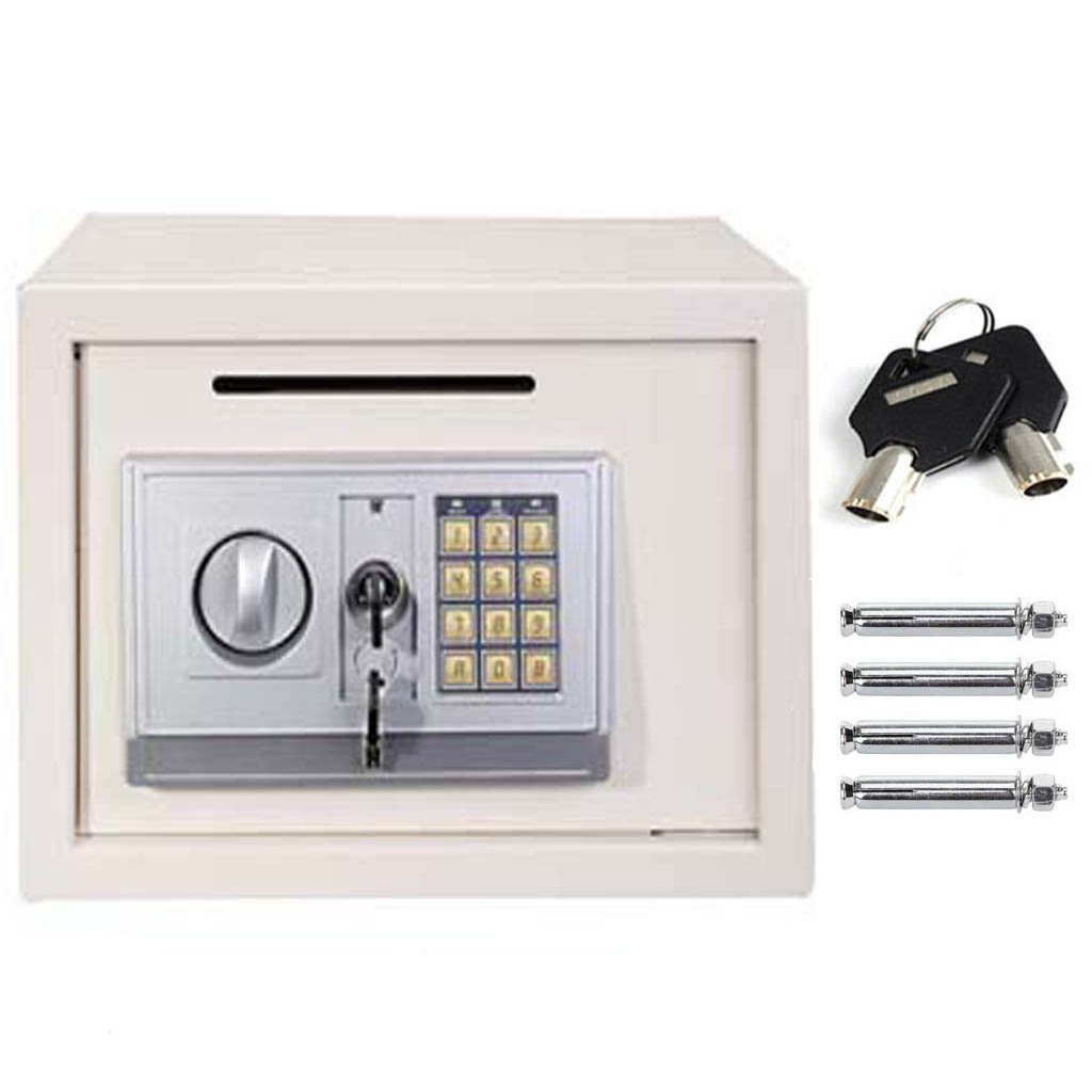 Black Safe Box 23x17x17cm Solid Steel Digital Electronic Cash Safety Security Box 4.6L 2 Keys PIN Number Code for Home Office Store Easy Installation