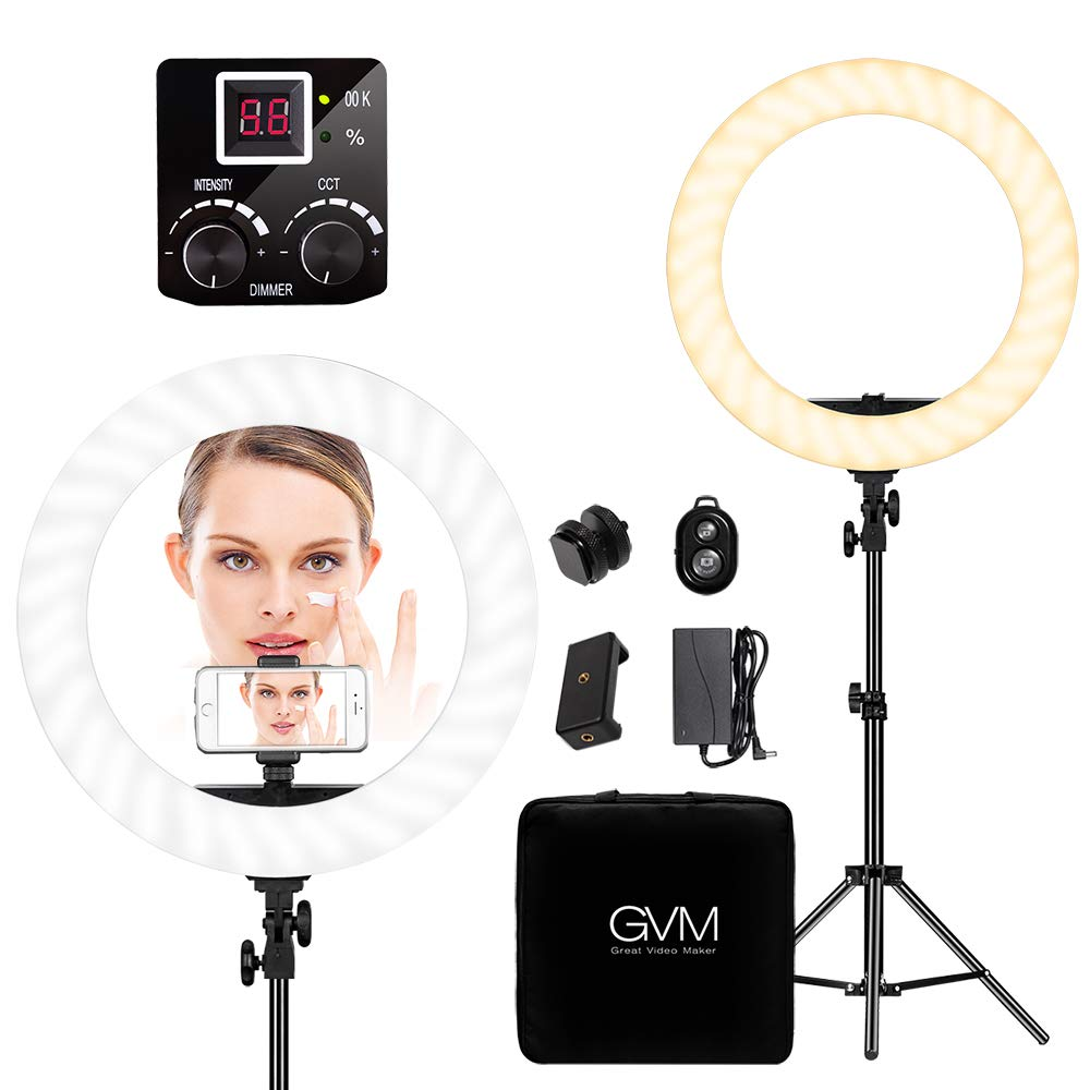 GVM LED Ring Light kit 18 inch, 256 Beads Eye Protection , Two-color White/Yellow, with Bluetooth Receiver, Stand, Phone Holder, Power, Handbag,1 Warranty