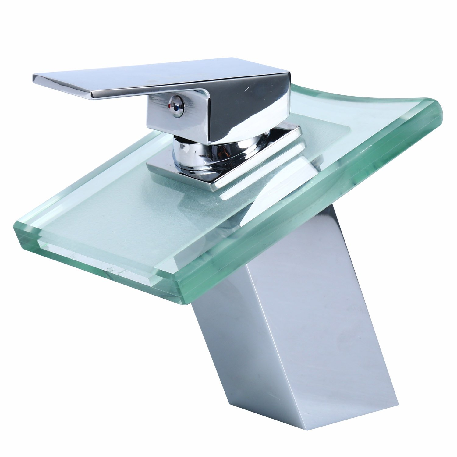 Homend Bathroom Sink LED Glass Faucet, Water Power Waterfall Bathroom Sink Faucet Deck Mount Color Changing Light LED Glass Spout Chrome Finish(Batteries are not included)