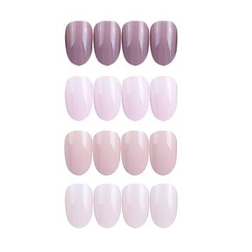 Amazon.com : Siusio 96 Pcs Colorful Fake Nails, 4 Pack Nude Full ...