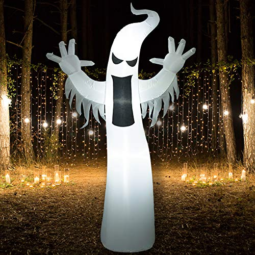 SUPERJARE 8 Ft Halloween Inflatable Ghost, Airblown Decoration with LED Light, Indoor & Outdoor, Yard & Lawn Decor
