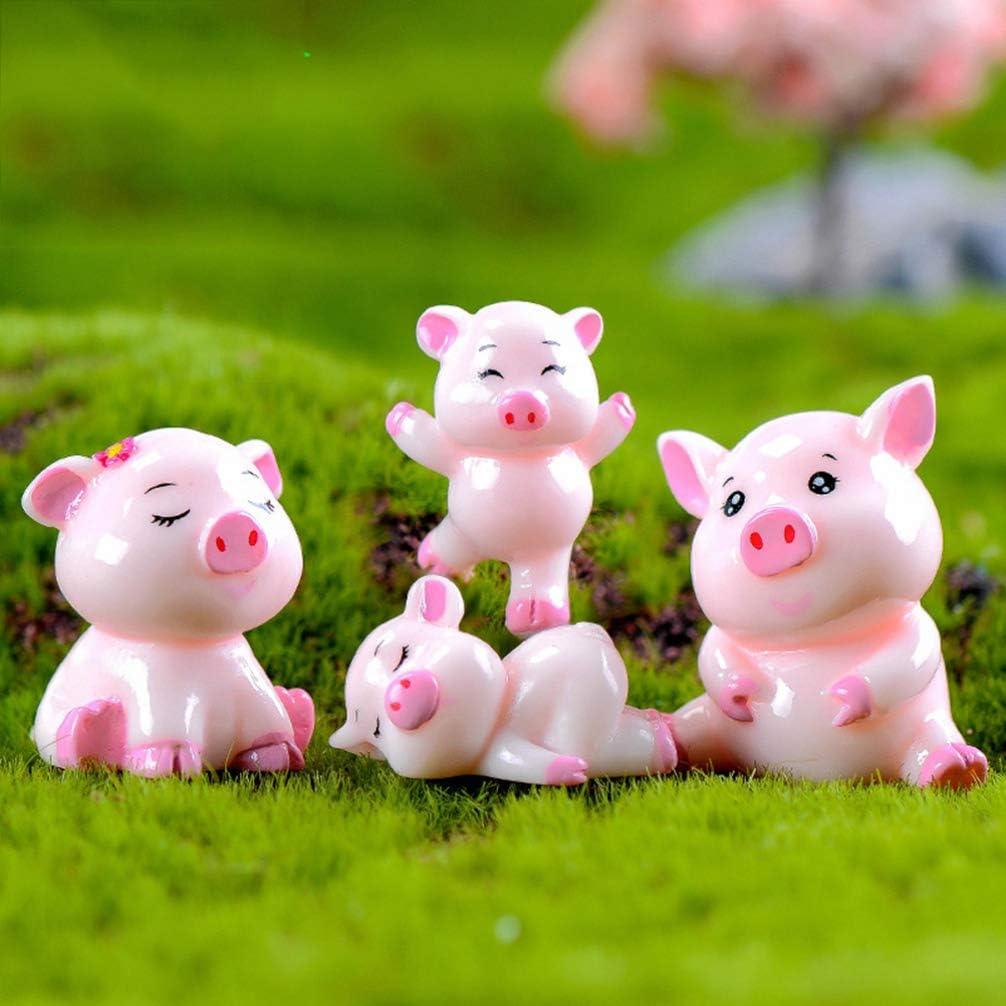 Healifty 5 Pezzi in Miniatura Figure in Resina di Maiale Fata Giardino Ornamento Bonsai Artigianato Ornamento Micro Paesaggio Decorazione Rosa