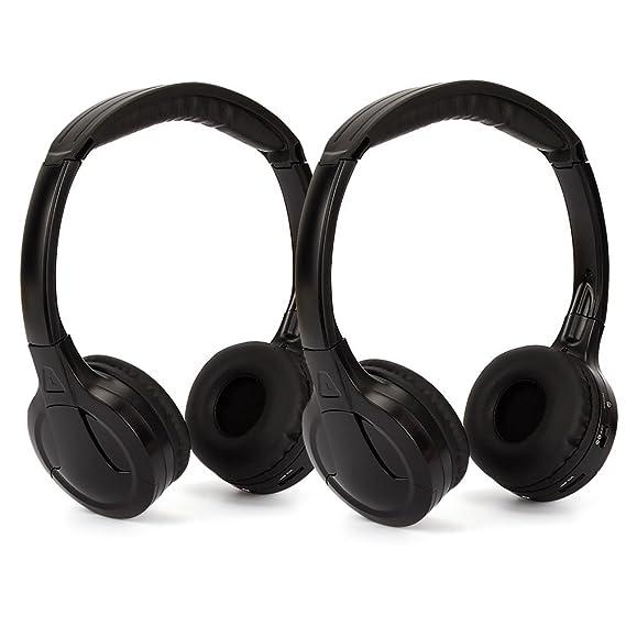 Pumpkin 2 Piezas Infrarrojos IR Auriculares Inalámbricos para MP5 Reproductor DVD/ Estéreo de Coche, Color Negro: Amazon.es: Electrónica