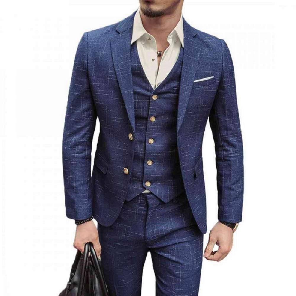 NSBS Mens 3 Piece Classic Tweed Herringbone Check Tan Slim Fit Vintage Suit (Xl)