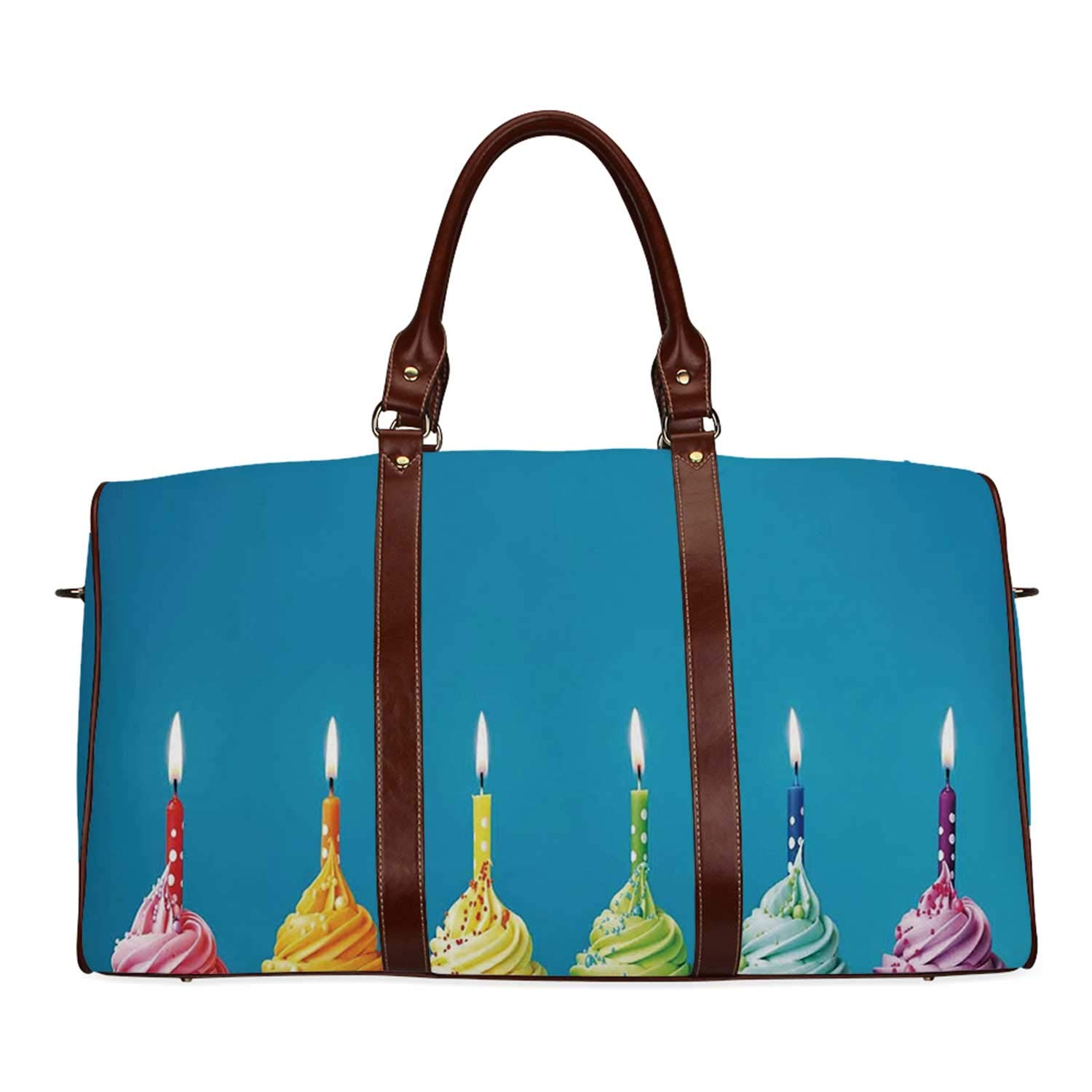 Birthday Decorations Economic Travel Bag,Cupcakes in Rainbow Colors with Candles Fun Homemade Party Food Sweet for Weekend,20.8''L x 12''W x 9.8''H by YOLIYANA