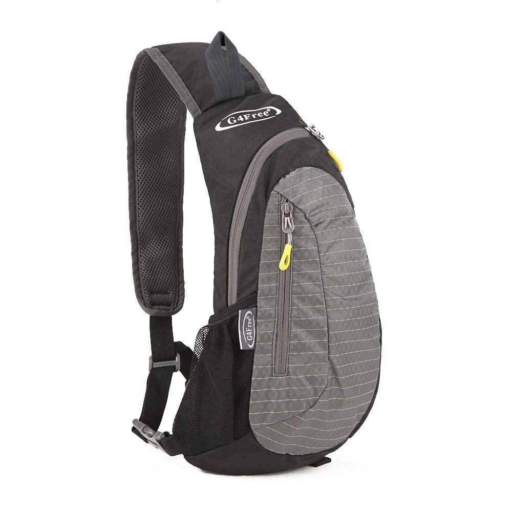 G4Free Sling Bag, Casual Cross Body Bag Outdoor Shoulder Backpack Chest Pack with One Adjustable Strap for Men Cycling Hiking(Black-Grey) by G4Free (Image #1)