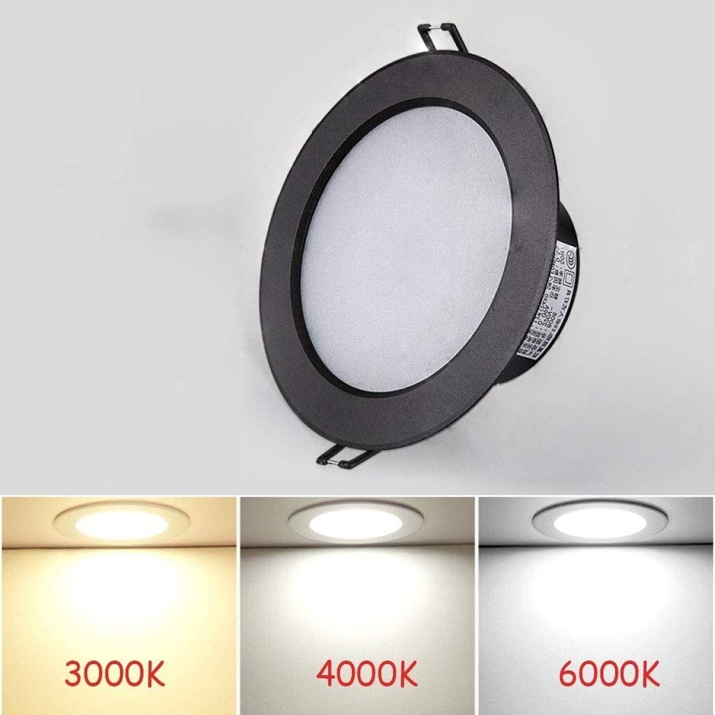 OUUED 3W LED Recessed Downlight White Panel Spotlight AC110~240V Cut Out 50-60mm with Spring Ring Retaining Clips for Retail Shop Commercial Color : Warm White 3000K