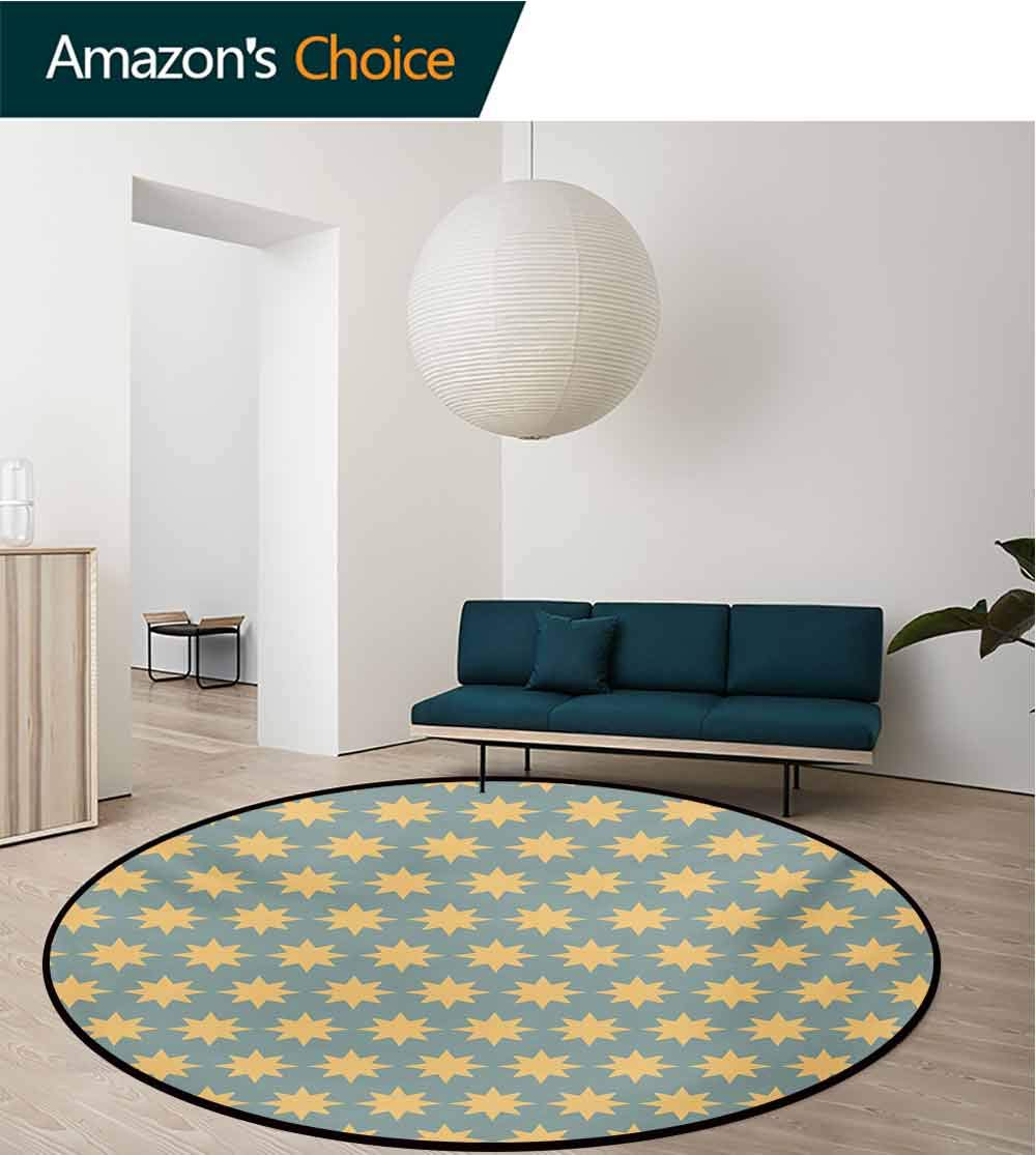 RUGSMAT Modern Modern Machine Washable Round Bath Mat,The Starry Night Pattern in Conceptual Artwork Style with Retro Details Print Non-Slip Soft Floor Mat Home Decor,Diameter-47 Inch
