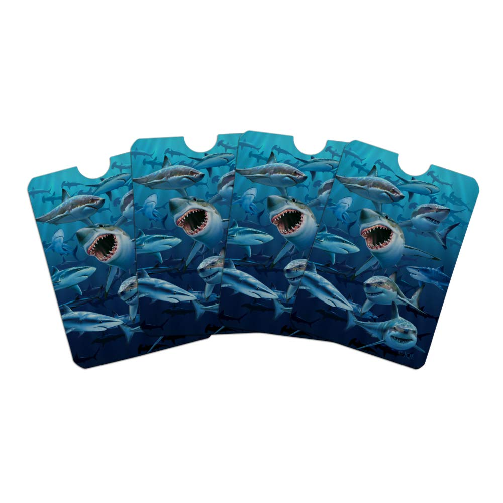 Shark Infested Waters Great White Credit Card RFID Blocker Holder Protector Wallet Purse Sleeves Set of 4