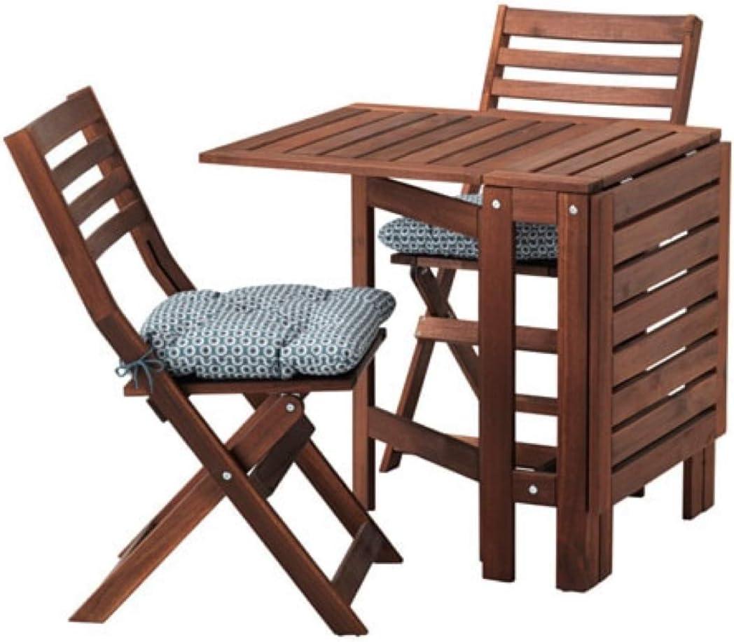 IKEA Applaro Mesa y 2 Sillas plegables al aire libre Marrón manchado Ytterön Azul 591.835.64: Amazon.es: Hogar