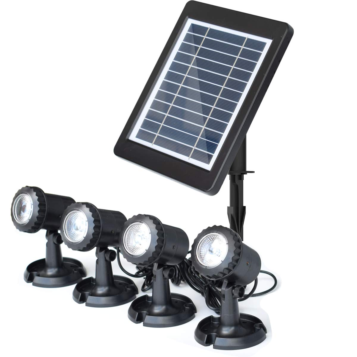 COODIA Solar Powered Underwater Night Light 4 Submersible Warm White Lamps Landscape Spotlight for Garden Pool Pond Outdoor Decoration