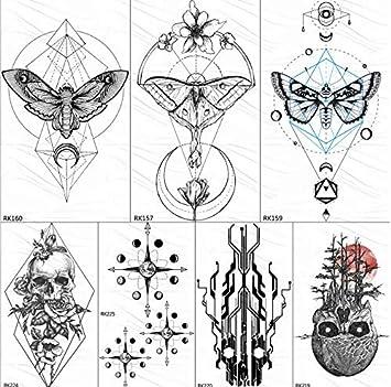 yyyDL tatuajes temporales Geometría mariposa polilla tatuajes ...