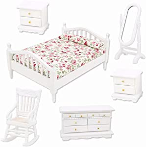 iLAZ 1:12 Scale Dollhouse Furniture Miniature Bedroom Complete Set 6pcs for Doll House, Miniature Accessory Kids Pretend Toy, Creative Birthday Handcraft Gift