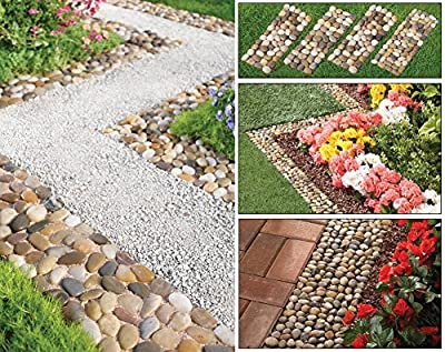 Set of 4 Stone Pebble Garden Path Mats Outdoor Pathway Trail Flowerbed Walkway Edging Border Mat