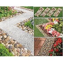 Conjunto de 4Piedra Pebble Garden Path esteras para camino exterior Trail Flowerbed Walkway ribete frontera Mat