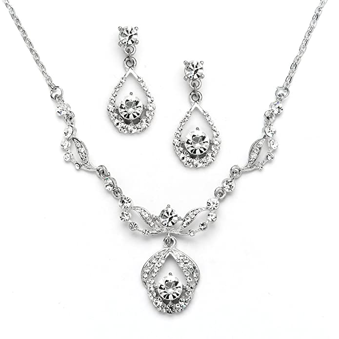 1920s Gatsby Jewelry- Flapper Earrings, Necklaces, Bracelets Mariell Silver Vintage Crystal Necklace and Earrings Jewelry Set for Prom Bridal and Bridesmaids $26.99 AT vintagedancer.com