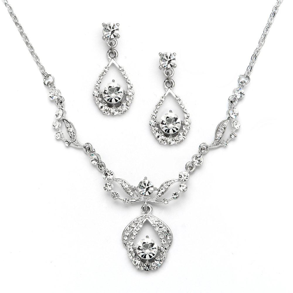 Mariell Silver Vintage Crystal Necklace and Earrings Jewelry Set for Prom, Bridal and Bridesmaids