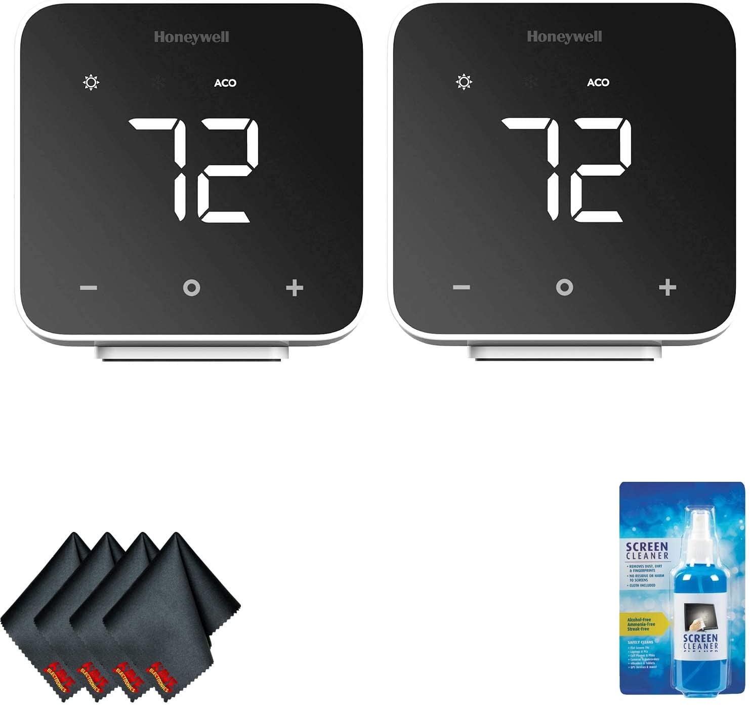 Honeywell Home D6 Thermostat (Black) (2-Pack) with Screen Cleaning Kit