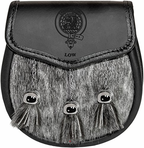 Low Semi Dress Sporran Fur Plain Leather Flap Scottish Clan Crest