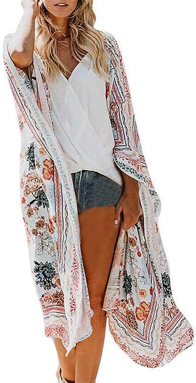 Amazon Com Kimono Largo Y Transparente Para Mujer Diseno Floral Floral De Gasa Para La Playa Blusa De Verano Tallas Grandes Clothing