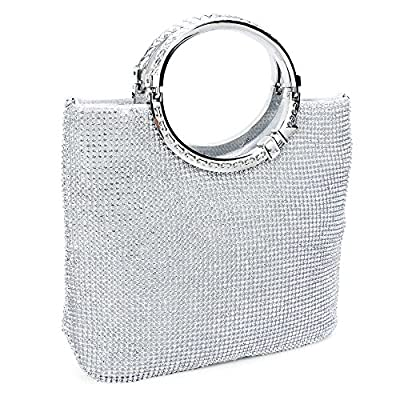 CLOCOLOR Womens Crystal Rhinestone Evening Bags Wedding Clutch Purse with Bow Frame