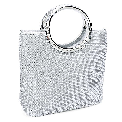 CLOCOLOR Womens Crystal Rhinestone Evening Bags Wedding Clutch Purse with Bow Frame Silver not too big nor too small,can fit my make up kit by Clocolor