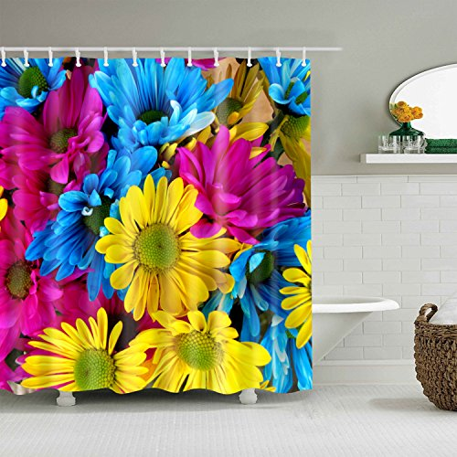 - BROSHAN Vibrant Color Bath Shower Curtain Colorful Sunflower Pattern Nature Garden Theme Modern Art Print Polyester Fabric Waterproof Bathroom Shower Curtain with Hooks,72 Inch Long