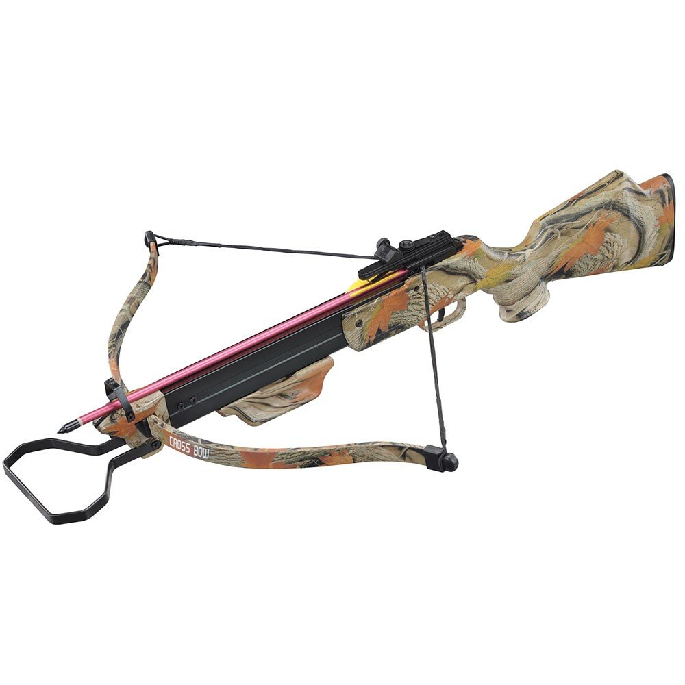 130lbs Camo Hunting Crossbow with 4x20 Scope and 7 x Arrows - Autumn Camo