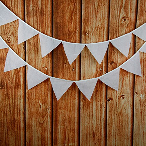 INFEI Solid White Cotton Fabric Flags Bunting Banner Garlands for Wedding, Birthday Party, Outdoor & Home Decoration ()