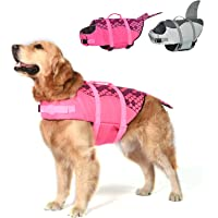 Dog Life Jacket, Mermaid Hot Pink, Ripstop Pet Floatation Vest Saver Swimsuit Preserver for Water Safety at The Pool…