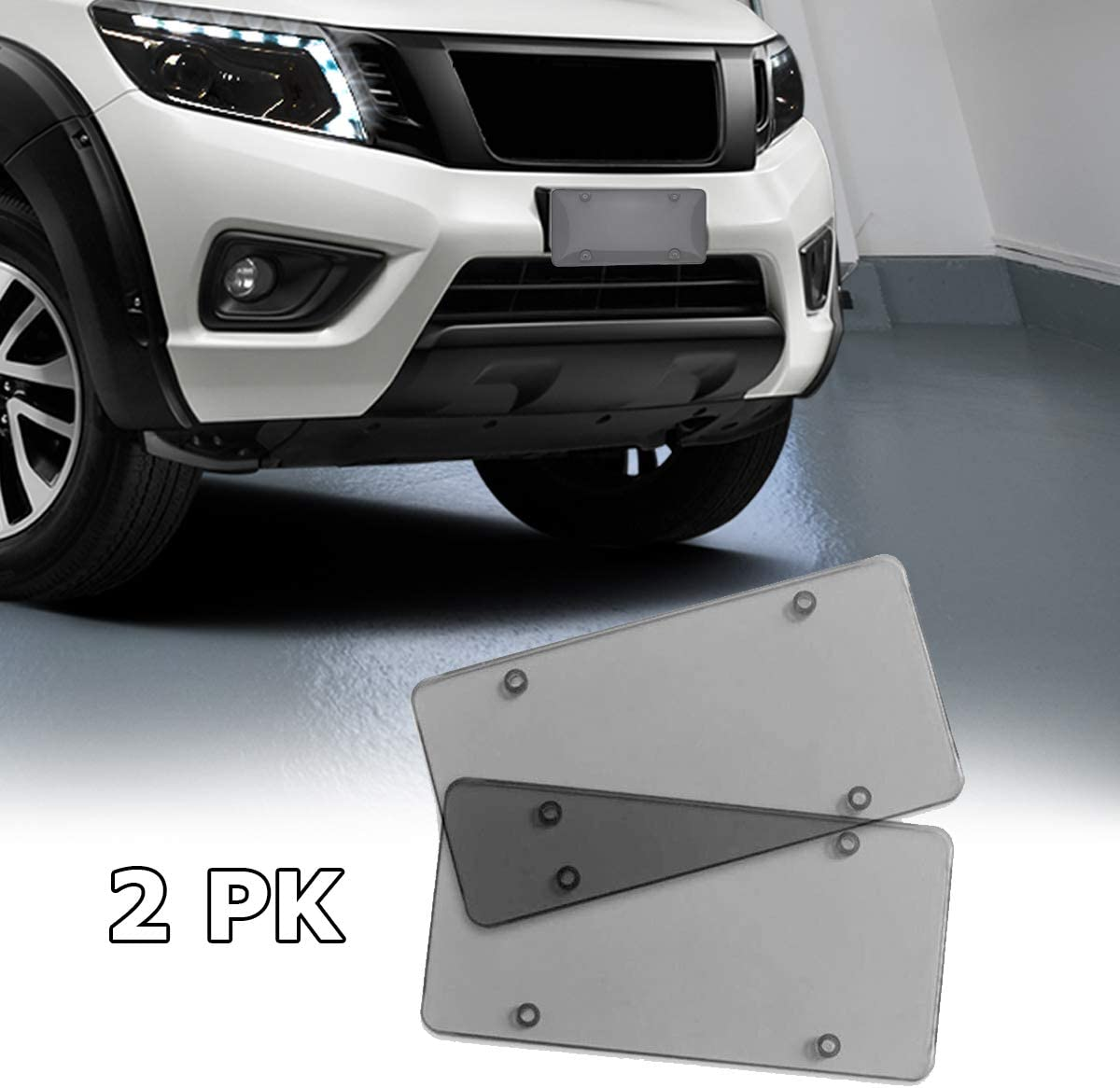 VaygWay Smoked License Plate Cover 2 Pack Novelty License Plate Tinted Smoke Flat Covers Unbreakable Flat License Plate Shield