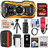 Ricoh WG-50 Waterproof/Shockproof Digital Camera (Orange) with 64GB Card + Battery & Charger + Case + Tripod + Floating Strap + Kit