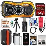 Ricoh WG-50 Waterproof/Shockproof Digital Camera (Orange) with 64GB Card +...