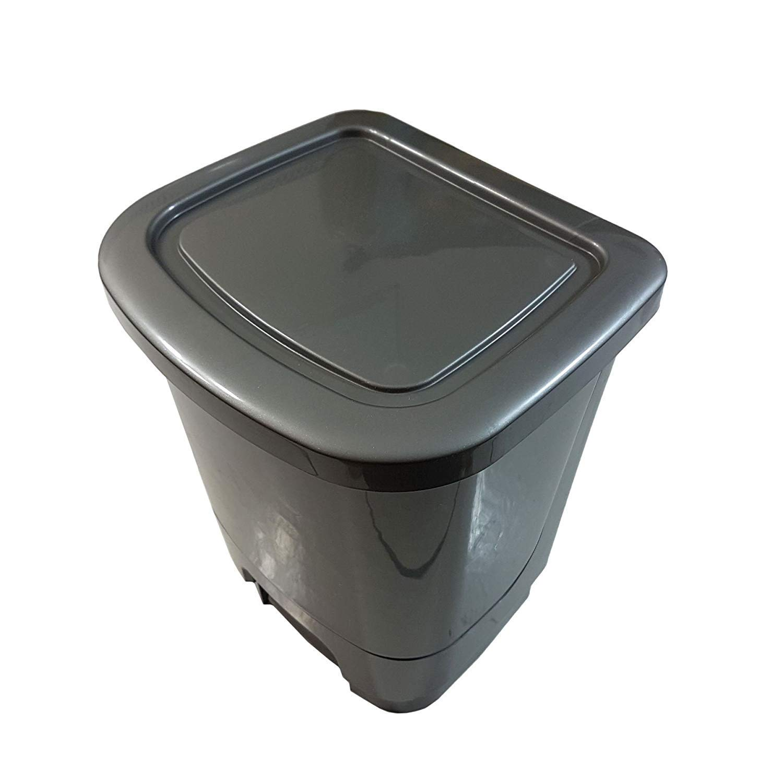 Waste Paper 8 Litre Grey Plastic Made in UK BPA Free Office Bathroom Kitchen Pedal BIN